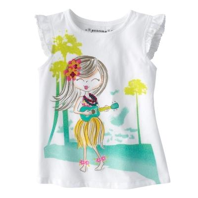 歐美風格設計 小童女童短棉T居家外出 沙灘小女孩 白色