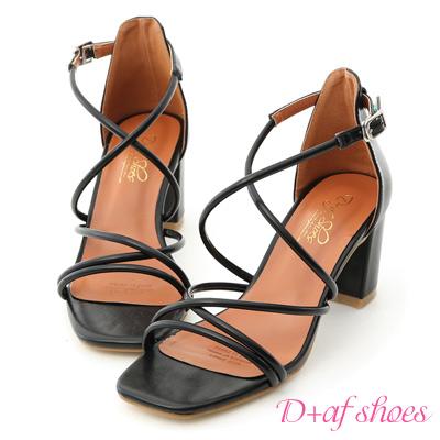 D+AF 時尚魅力.交叉細帶方頭高跟涼鞋*黑