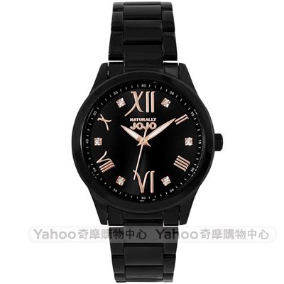 NATURALLY JOJO 謎漾晶鑽時尚手錶-黑x玫瑰金/35mm