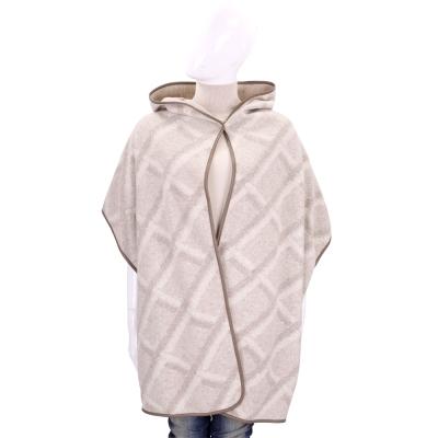 Max Mara 米咖色格紋羊毛連帽罩衫(80%WOOL)