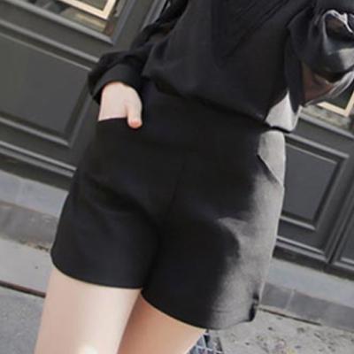 高腰設計感口袋挺版西裝短褲 (共二色)-Chic Girl