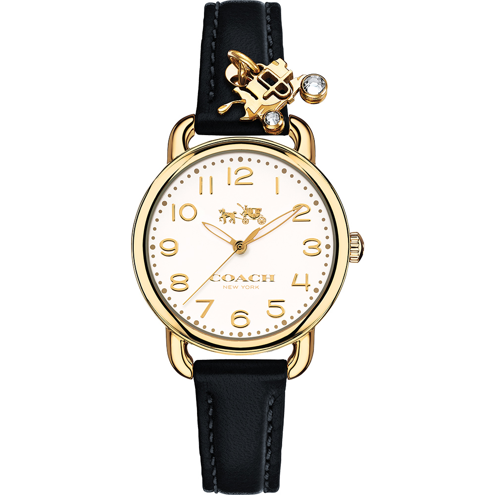 Coach Delancey 紐約摩登品牌logo吊飾女錶-米色x金框x黑/28mm