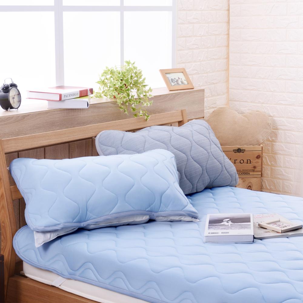 喬曼帝Jumendi 超涼感纖維針織枕頭保潔墊-活力藍 @ Y!購物