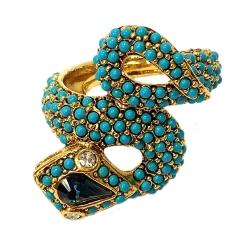 Kenneth Jay Lane 好萊塢巨星最愛 土耳其藍玉石 8造型 蛇戒指 附原廠盒