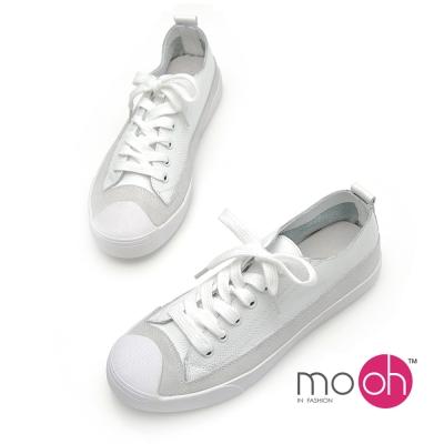 mo.oh - 全真皮拚色綁帶小白鞋牛皮帆布鞋休閒鞋-白