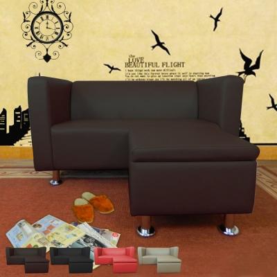 時尚屋 小龐帝克4.3尺二人座L型鐵腳沙發 多色可選 寬131cm-免組