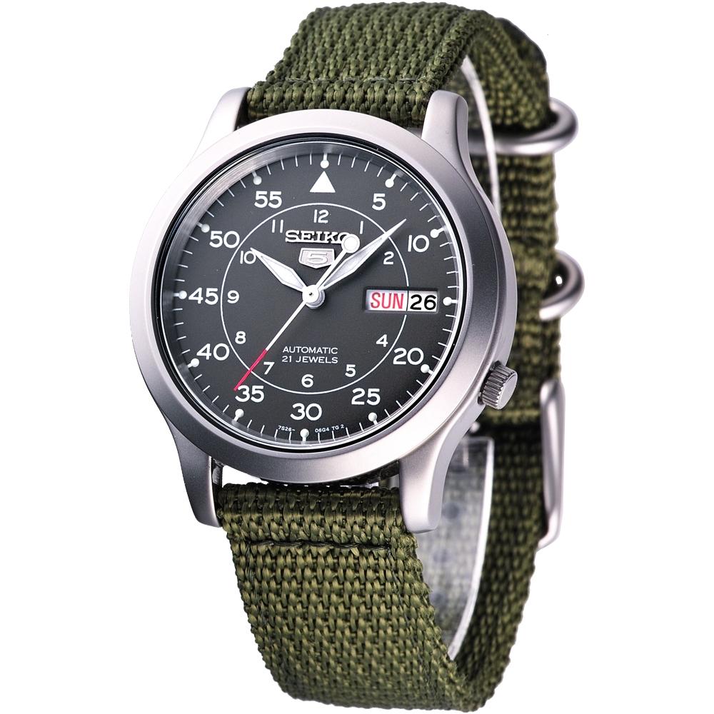 SEIKO 第二代軍用帆布機械錶(SNK805K2)-軍綠色/37mm
