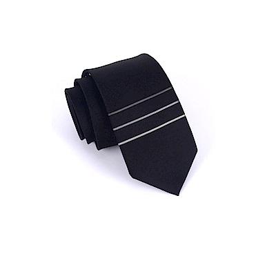 拉福 領帶三橫領帶黑6cm領帶手打領帶
