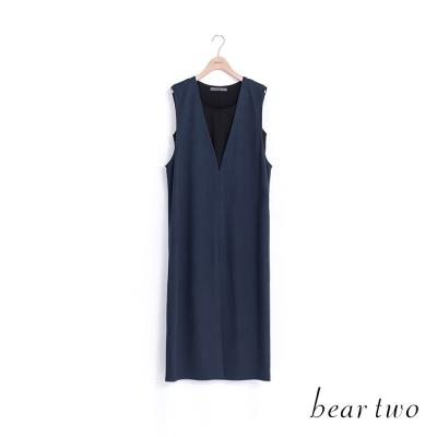 beartwo 知性風簡約兩件式長版背心洋裝(深藍)