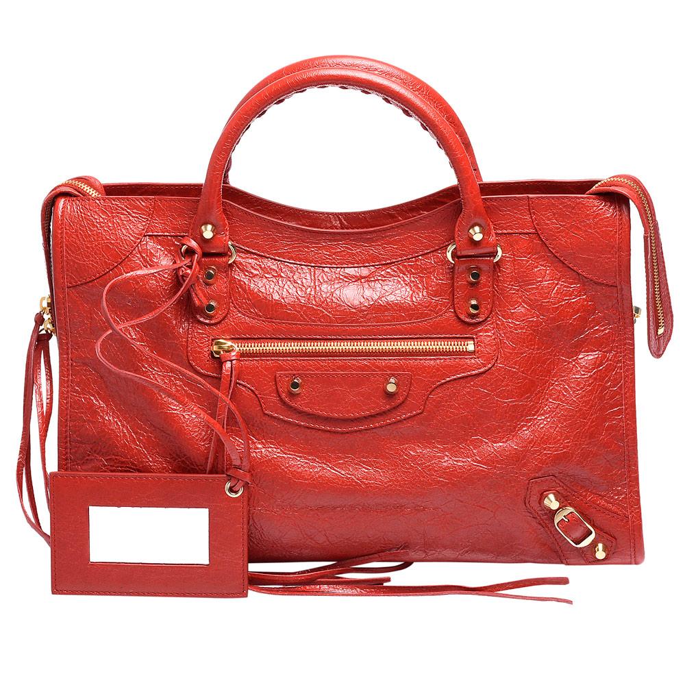 BALENCIAGA 巴黎世家 CITY亮金扣羊皮機車包(中-胭脂紅) @ Y!購物