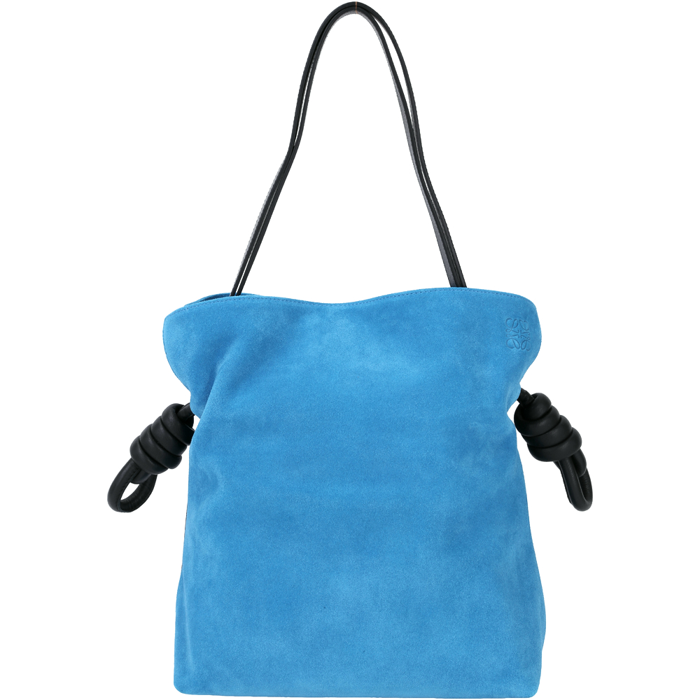 LOEWE Flamenco Knot 麂皮繩結束口肩背包(土耳其藍)