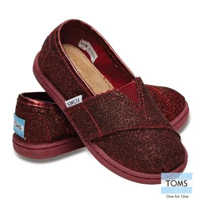 TOMS 經典亮粉懶人鞋-幼童款(深紅)