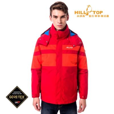 【hilltop山頂鳥】男款GoreTex防水2合1蓄熱羽絨外套F22MV5紅紅
