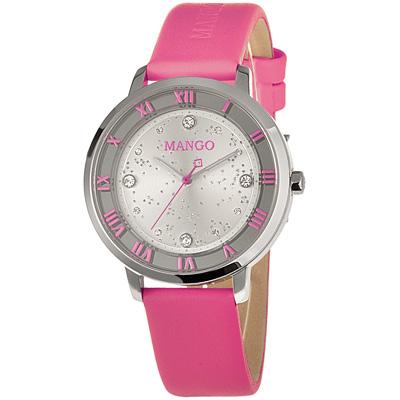 MANGO 海洋女神羅馬晶鑽時尚腕錶-銀x桃紅/36mm
