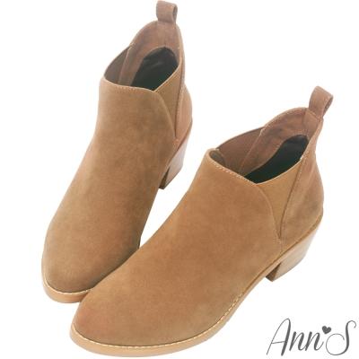 Ann'S時髦細節-側面隱形鬆緊V型粗跟短靴-杏