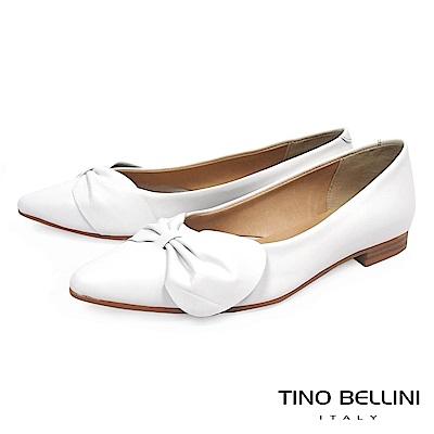 Tino Bellini 義大利進口典雅領結尖頭娃娃鞋_ 白