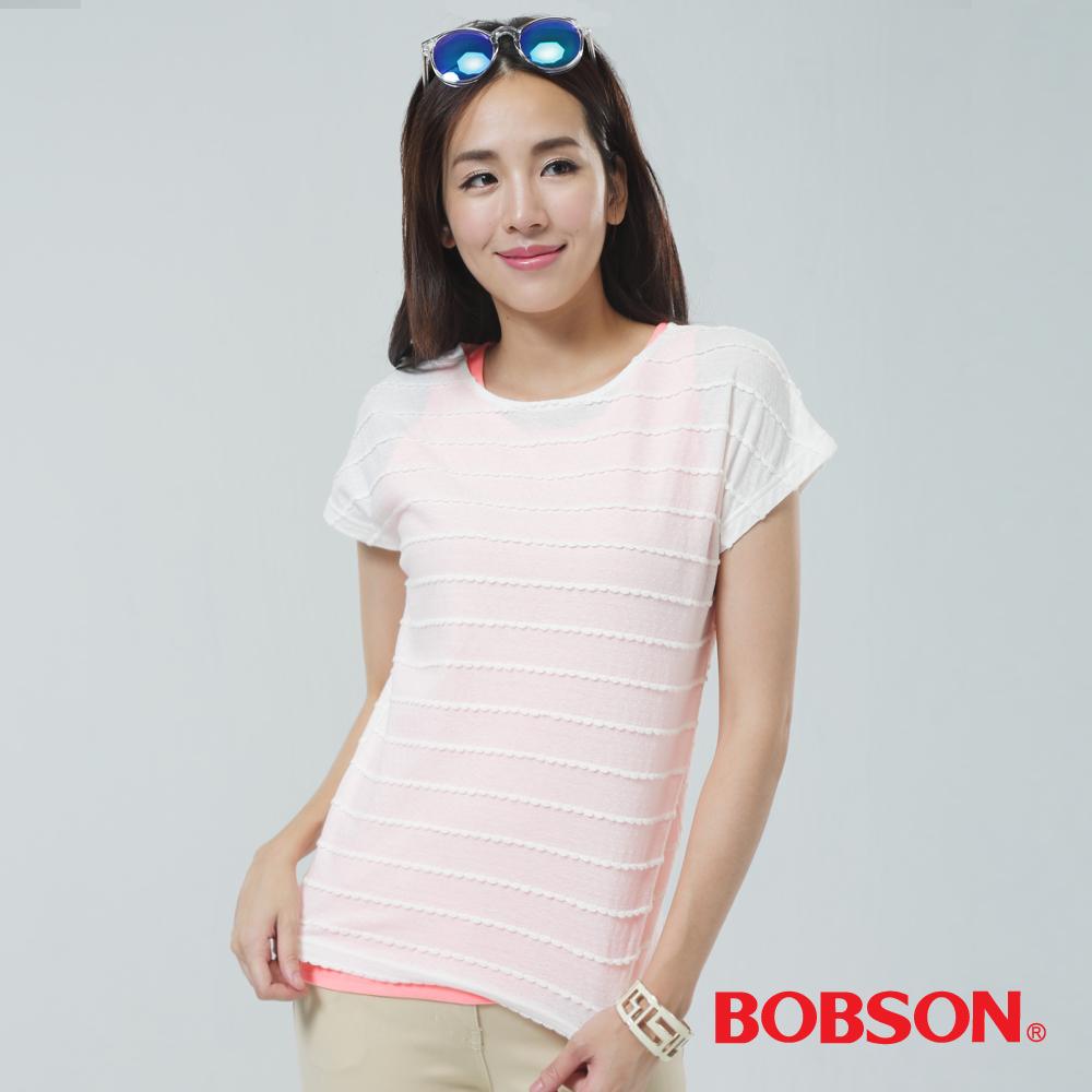 BOBSON  女款兩件式上衣-橘白