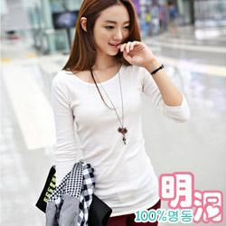 正韓 親膚舒適純綿素面長版T恤(白色)-100%明洞