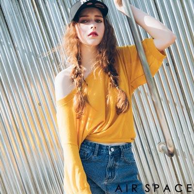 AIR SPACE 兩穿設計綁帶落肩針織上衣(黃)