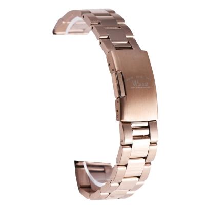 PARNIS BOX 20mm 代用錶帶 單向按壓鋼帶 不鏽鋼 IP電鍍玫瑰金