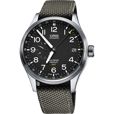 Oris Big Crown ProPilot GMT小秒針機械錶-黑x軍綠/45mm