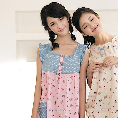 華歌爾Pretty Amy 夏日樂趣印花 M-L 短袖裙裝家居服(粉)