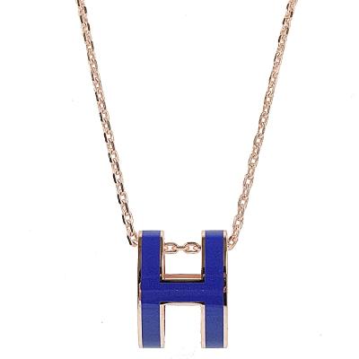 HERMES H POP款LOGO圓弧型項鍊(藍/玫瑰金)