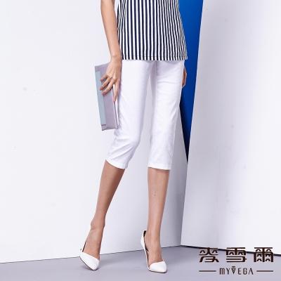 麥雪爾 純白織紋滿版八分褲
