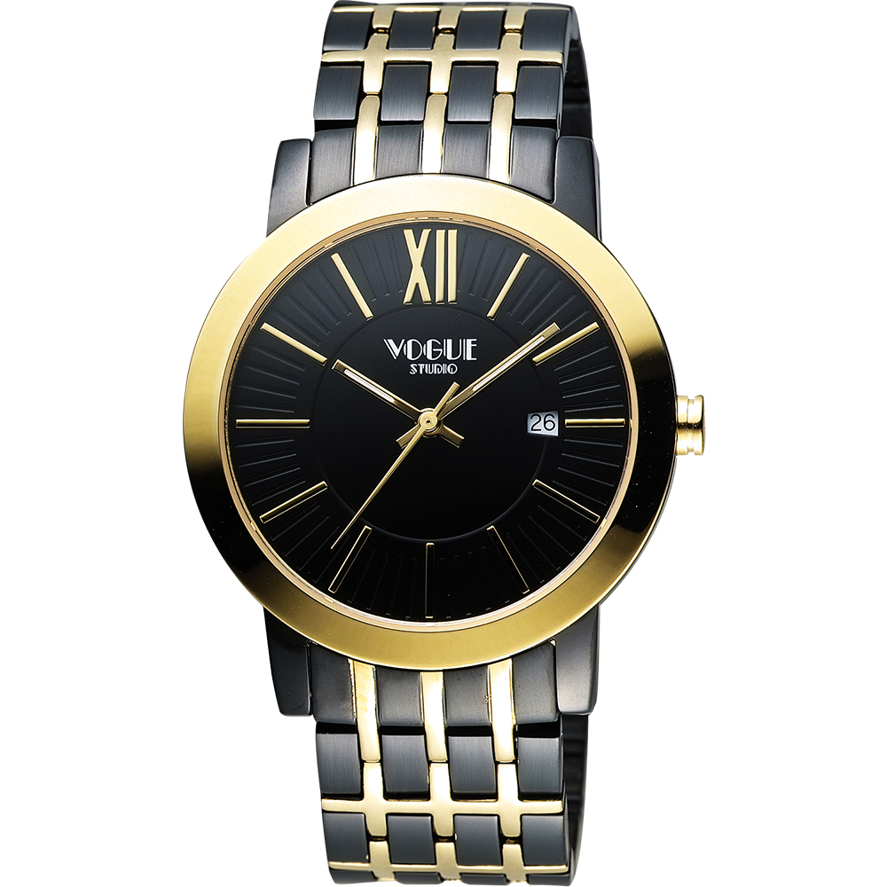 VOGUE 尊爵時尚羅馬腕錶-IP黑x雙色版/40mm