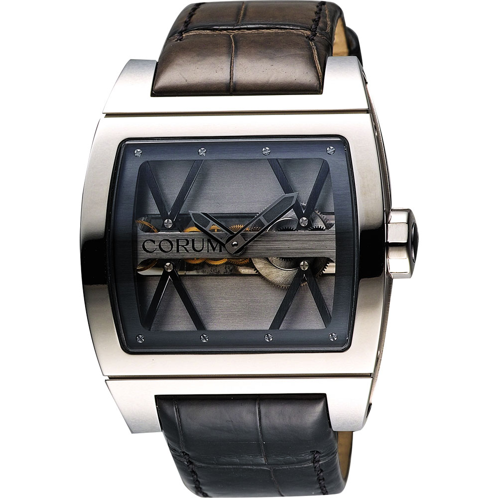 Corum 崑崙 Ti-Bridge雙鏤空限量手動上鍊械腕錶-銀/43mm