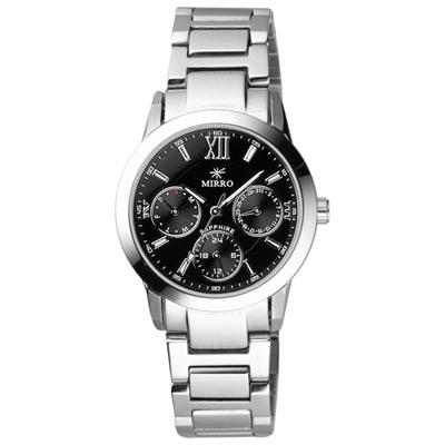 MIRRO 都市時刻三眼日期腕錶-黑/小/32mm