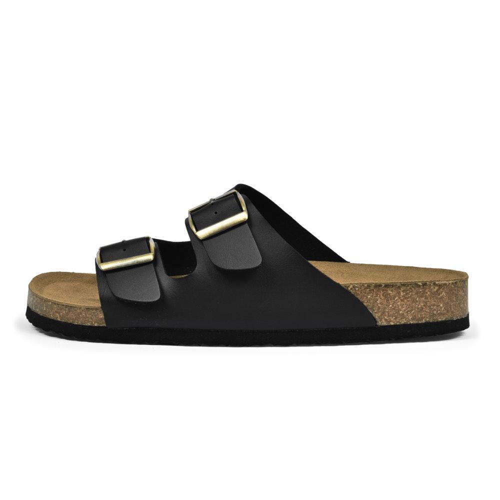 BuyGlasses 雙排扣皮革涼拖鞋-黑