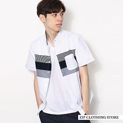 橫條紋拼接牛津襯衫(4色) ZIP日本男裝