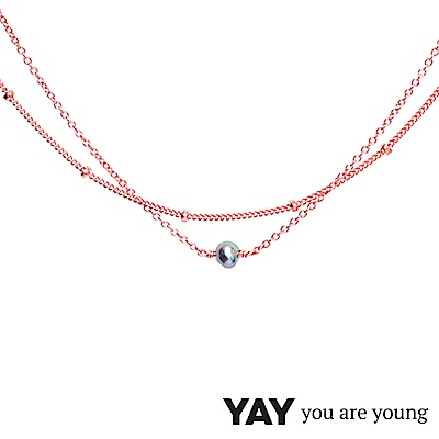 YAY You Are Young 法國品牌 Stella 灰珍珠項鍊 玫瑰金