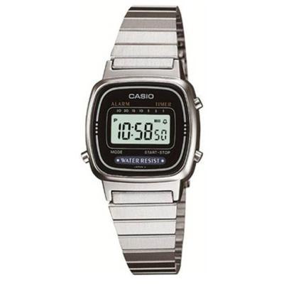 CASIO 經典復古風數位女腕錶(LA-670WD-1)-銀/30.3mm