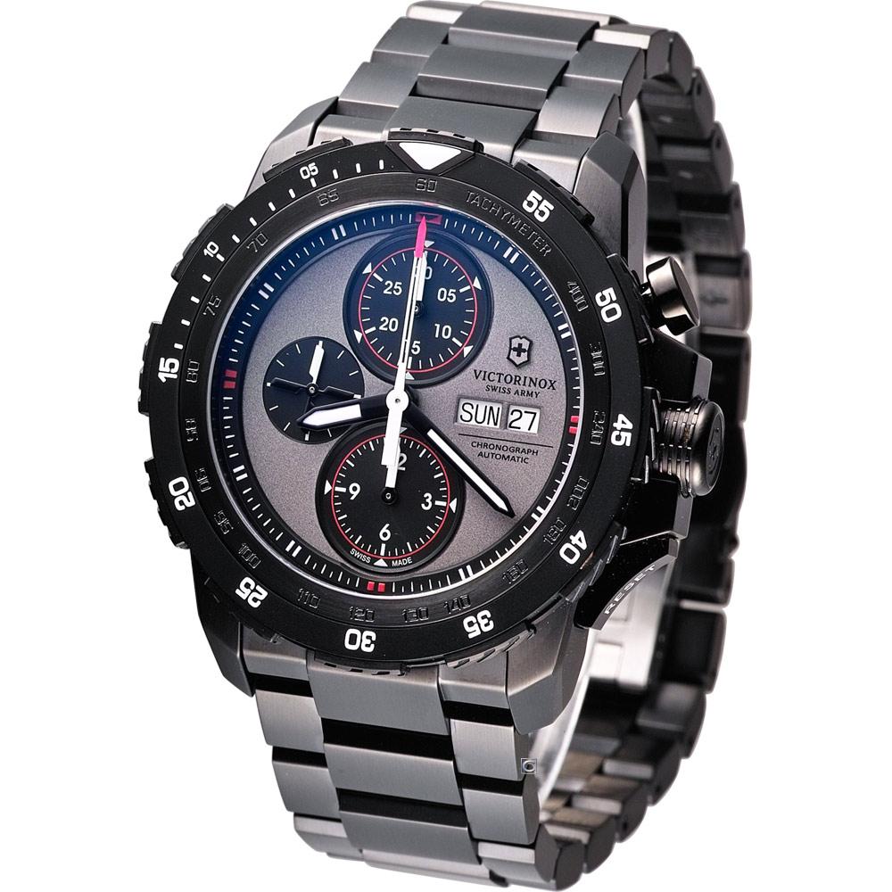 Victorinox ALPNACH 機械計時碼錶-黑灰x紅圈/44mm