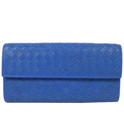 BOTTEGA VENETA牛皮紋編織扣式長夾(寶藍)