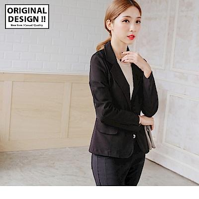 台灣製造.袖口開衩黑色西裝外套-OB大尺碼