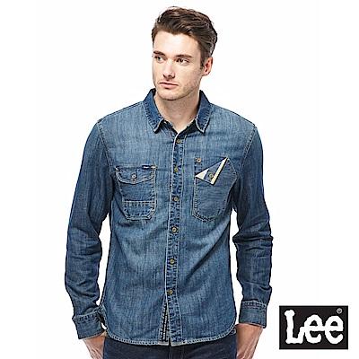 Lee 牛仔長袖襯衫-男款-藍色