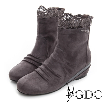 GDC個性-蕾絲絨布面真皮楔型短靴-槍灰色