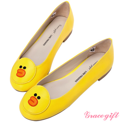 Grace gift│LINE FRIENDS-拼接電繡平底鞋 黃