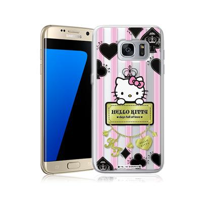 三麗鷗正版 凱蒂貓 三星 Galaxy S7 edge 透明軟式保護殼(撲克牌)