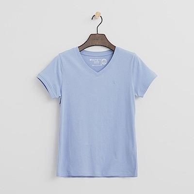 Hang Ten - 女裝 - 有機棉 V領多彩T恤-藍色