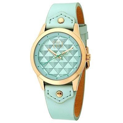 ELLE  立體菱格紋無時標皮革腕錶-淺綠色/金色-35mm