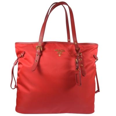 PRADA 浮雕LOGO尼龍帆布束口大購物包.紅