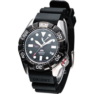ORIENT 怒海潛將 200米潛水機械腕錶-黑/46mm