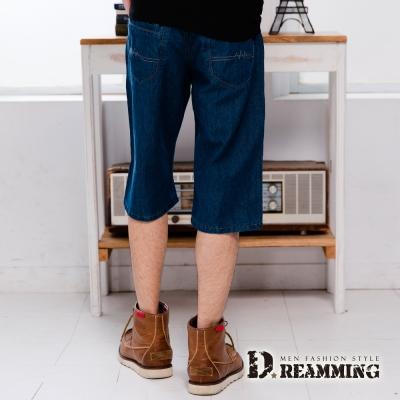 Dreamming 舒適輕薄格紋剪接純棉單寧七分褲