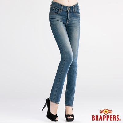 BRAPPERS 女款 新美腳Royal系列-女腰彈性鑲鑽窄管褲-藍