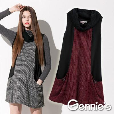【Gennie's奇妮】都會女仕‧俐落時尚秋冬孕婦背心洋裝(C2411)