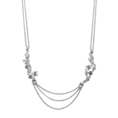 apm MONACO法國精品珠寶 閃耀銀色鑲鋯水滴葉片造型可調整長項鍊